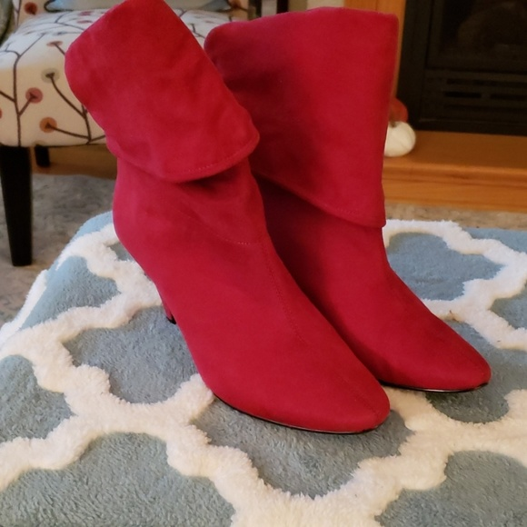 Mixit Shoes | Red Faux Suede Booties